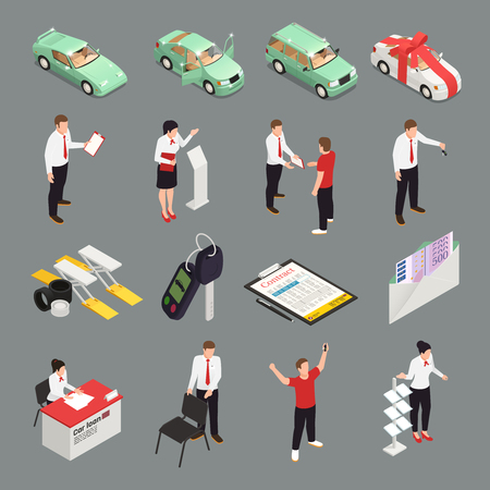 Car dealership icons set with car sale  symbols isometric isolated vector illustration