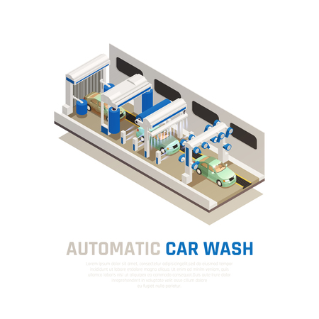 Carwash service isometric consept with automatic car wash symbols vector illustration