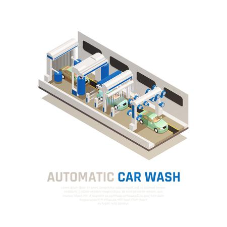 Concepto isométrico del servicio de lavado de autos con símbolos de lavado de autos automático ilustración vectorial
