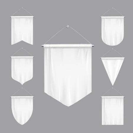 Maqueta blanca en blanco banderines banderas triangulares varias formas cónicas pancartas colgantes conjunto realista aislado ilustración vectorial