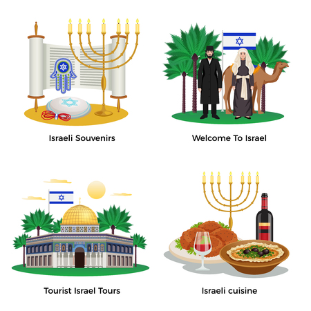 Israel travel concept icons set with tours and cuisine symbols flat isolated vector illustration