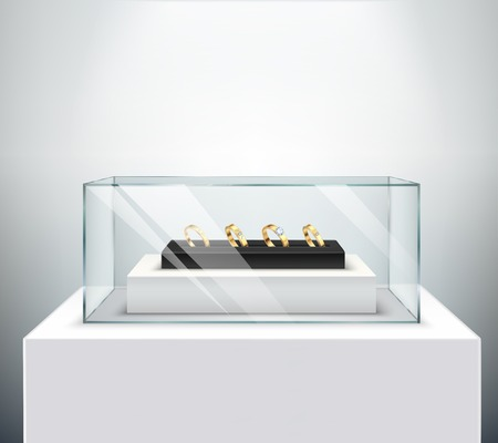 Gold exclusive diamond engagement wedding rings display in luxury jewelry shop spectaculair glass showcase realistic vector illustration