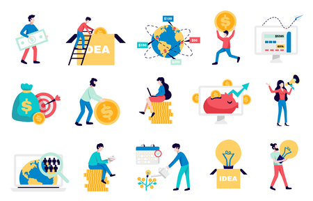 International crowdfunding money raising internet platforms for business startup nonprofit charity symbols flat icons collection vector illustration