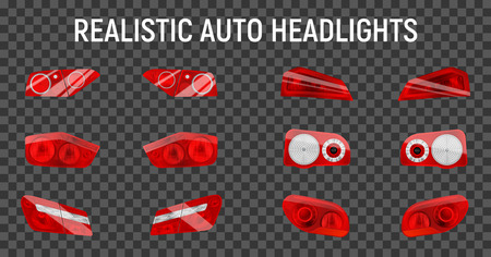 Realistic auto back stop headlights set with twelve isolated brake and marker lights on transparent background vector illustration