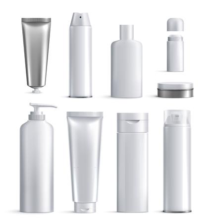 L'icône réaliste des bouteilles de cosmétiques pour hommes définit différentes formes et tailles pour l'illustration vectorielle de beauté Vecteurs
