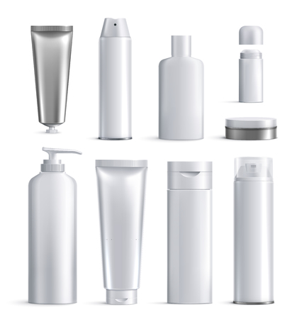 Mens cosmetics bottles realistic icon set different shapes and sizes for beauty vector illustration