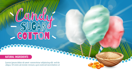 Realistic candy sugar cotton horizontal poster background with editable text and images of palm leaves sweets vector illustration Ilustração