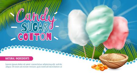 Realistischer horizontaler Posterhintergrund aus Kandiszuckerbaumwolle mit bearbeitbarem Text und Bildern von Palmblättern-Süßigkeiten-Vektorillustration