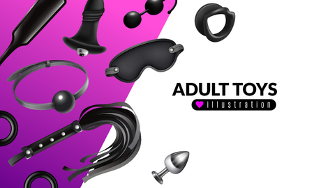 Ilustración de juguetes para adultos con cosas para juegos de rol y establecer una ilustración vectorial realista