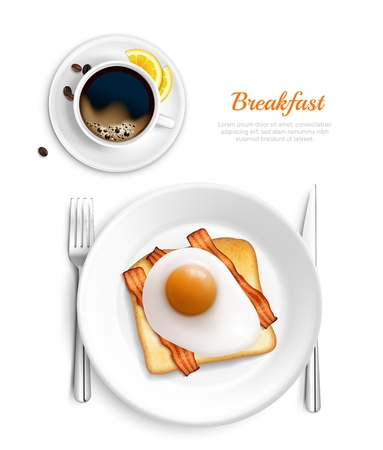 White color breakfast realistic top view composition with eggs and bacon plate vector illustration Фото со стока - 121761441