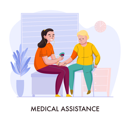 Nursery home medical assistance volunteer help flat composition with smiling young lady feeding elderly person vector illustration  Ilustração