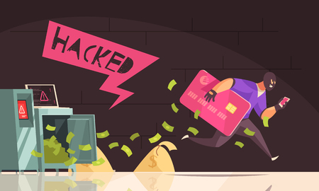 Colored and flat hacker runs away composition man steal credit card and runs vector illustration