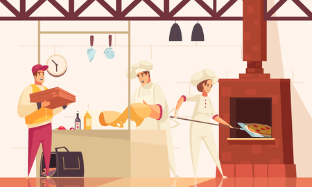 Pizzeria flat composition with chefs bake pizza in oven at the kitchen and gives the order to courier vector illustration 일러스트