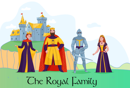 Medieval kingdom royal family standing in front of castle flat composition with king queen knight princess vector illustration Stockfoto - 121761446