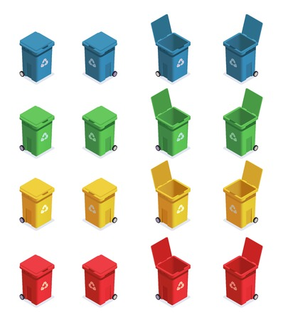 Garbage waste recycling isometric set with sixteen isolated images of rubbish bins with different colour code vector illustration Illusztráció