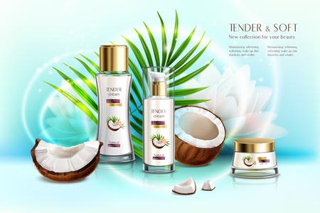 Composición realista de promoción de productos de belleza de cosméticos orgánicos de coco con crema corporal y loción antienvejecimiento ilustración vectorial Ilustración de vector