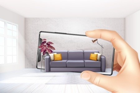 App per applicazioni interne di realtà virtuale aumentata per smartphone che scelgono l'esperienza del divano per l'illustrazione realistica di vettore della composizione del touch screen Vettoriali