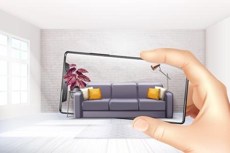 Applications d'application intérieure de réalité virtuelle augmentée par smartphone choisissant l'expérience du canapé pour une illustration vectorielle de composition réaliste à écran tactile Vecteurs