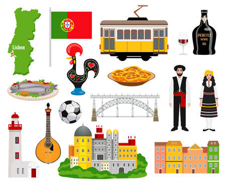Portugal tourism icons set with cuisine and map symbols flat isolated vector illustration Ilustrace