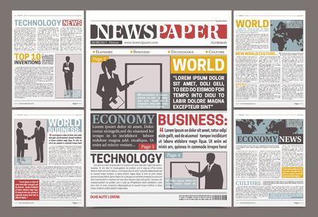 Diseño de plantilla de periódico con noticias de artículos financieros e información publicitaria ilustración vectorial plana