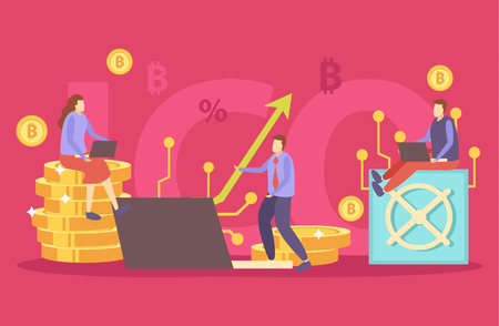 Initial currency offer crypto funding investors transaction technologies security tokens symbols flat colorful background composition vector illustration   Çizim