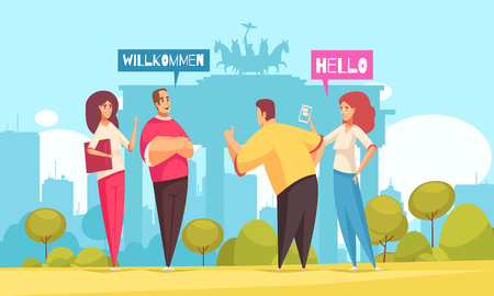 Language center courses conversation training flat composition with 4 beginners and brandenburg gate in background vector illustration  Illustration