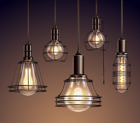 Loft edison vintage metal wire frame hanging  lamps with soft glowing light bulbs realistic set vector illustration Illustration