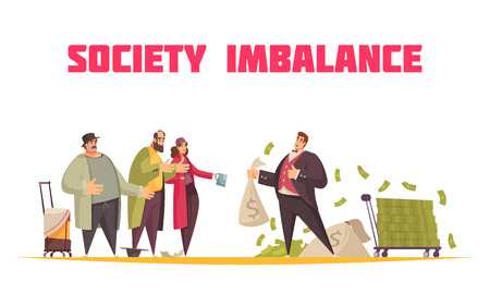 Society imbalance flat cartoon horizontal composition with rich man holding sack dollars and poor beggars vector illustration Illustration