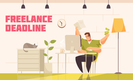 Desperate freelancer meeting tough deadline behind computer home with cat coffee extra hands flat comics vector illustration