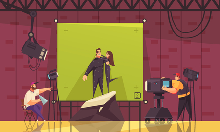 Cinema comedy fantasy romance scene comic style composition with film director shooting aliens hugging couple vector illustration