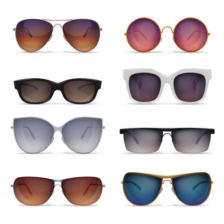 Set di otto immagini realistiche di occhiali da sole isolati con modelli di occhiali da sole di diversa forma e illustrazione vettoriale a colori