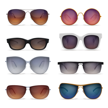 Set of eight isolated sunglasses realistic images with sun goggles models of different shape and colour vector illustration Illustration