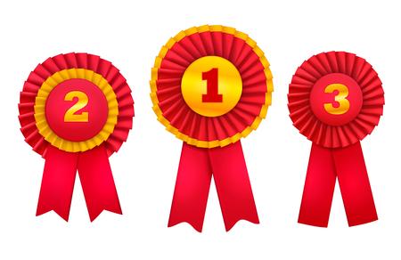 Le rosette di badge gratificanti assegnano una serie realistica di ordini per i migliori luoghi vincenti decorati con illustrazione vettoriale di nastri rossi