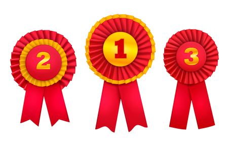 Rewarding badges rosettes award realistic set of orders for top winning places decorated with red ribbons vector illustration