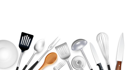 Cooking tools background composition with realistic images of kitchenware items made of steel plastic and wood vector illustration