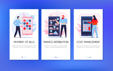 Vertical banners set with people paying bills and distributing finance online isolated on blue background flat vector illustration