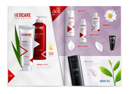 Cosmetic magazine template with promotion of men care collection realistic vector illustration Illustration