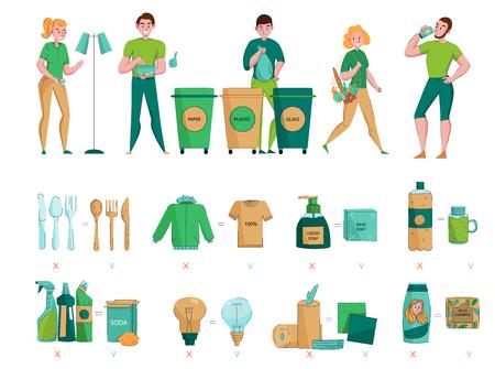 Residuos cero, protección del medio ambiente, recolección, clasificación, elección de materiales orgánicos naturales sostenibles, iconos planos, imágenes, conjunto, ilustración vectorial Ilustración de vector