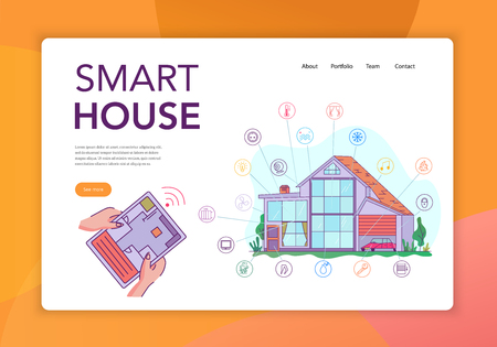 Smart house internet of things intelligent technology concept flat website banner with iot tablet control vector illustration