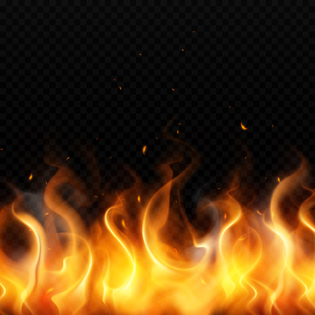 Flame of gold fire on dark transparent background with red sparks flying up realistic vector illustration