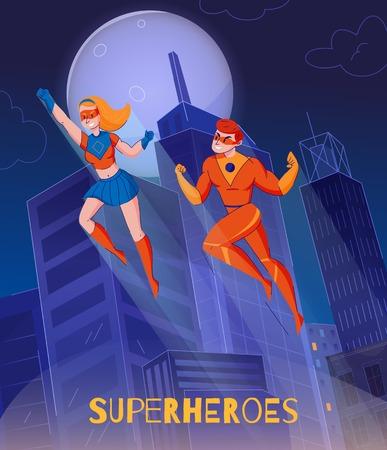Fliegende Superhelden, die über Nachtstadttürmen schweben Vektorgrafik