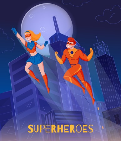 Flying superheroes soaring above night city towers comics wonder woman super man characters background poster vector illustration
