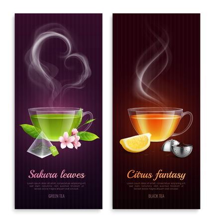 Green and black tea with sakura leaves and citrus fantasy aroma promote vertical banners with steaming cups images realistic vector illustration Vettoriali