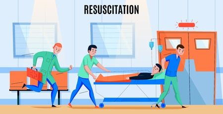 Ambulance paramedics crew rushing injured patient to hospital emergency department   resuscitation area flat composition vector illustration