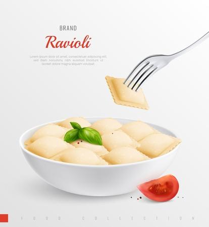 Plate of ravioli as traditional national dish of italian menu realistic composition vector illustration Иллюстрация