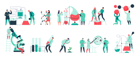 Colorful icons set with biochemical science laboratory staff performing various experiments flat isolated vector illustration Illustration