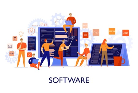 Professional programmers configuring software colorful flat vector illustration