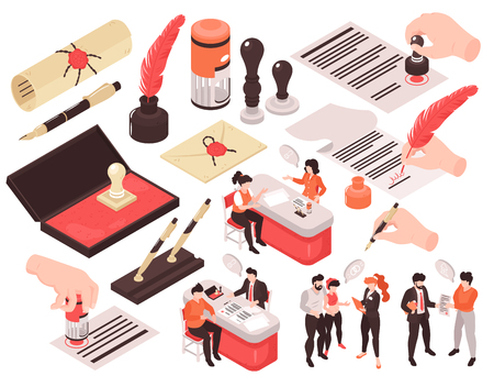 Isometric notary services set of isolated images with human characters thought bubbles and hands with pens vector illustration