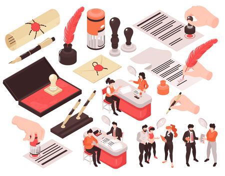 Servizi notarili isometrici set di immagini isolate con personaggi umani bolle di pensiero e mani con penne illustrazione vettoriale Vettoriali