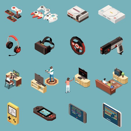 Set of sixteen isolated gaming gamers isometric icons with vintage consoles game accessories and modern gadgets vector illustration